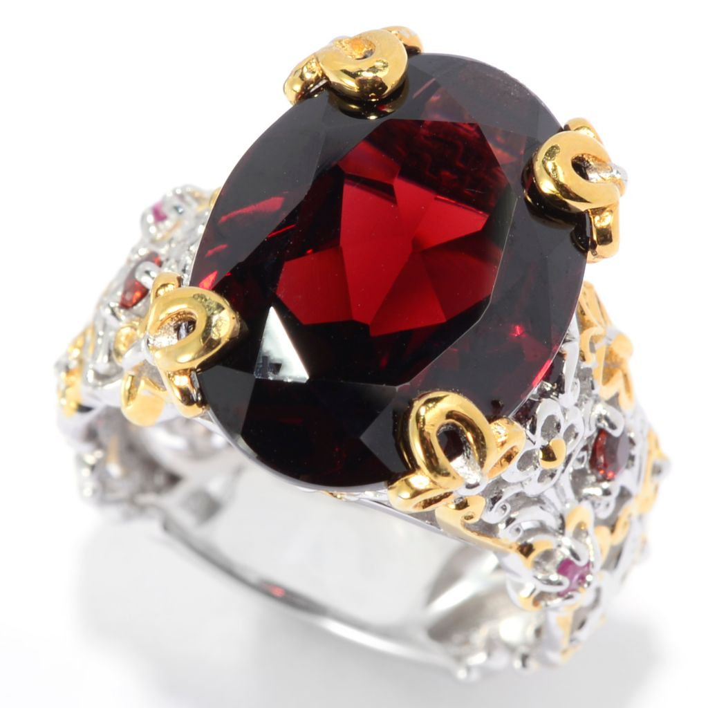 139-796 - Gems en Vogue II 11.14ctw Oval Mozambique Garnet & Multi Gemstone Flower Shank Ring