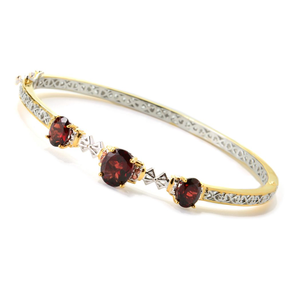 139-797 - Gems en Vogue II 5.98ctw Mozambique Garnet & Orange Sapphire Hinged Bangle Bracelet