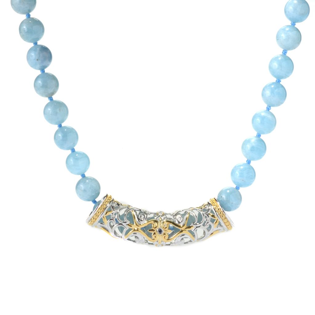 "139-798 - Gems en Vogue 20"" 10mm Aquamarine Bead & Sapphire Toggle Necklace"