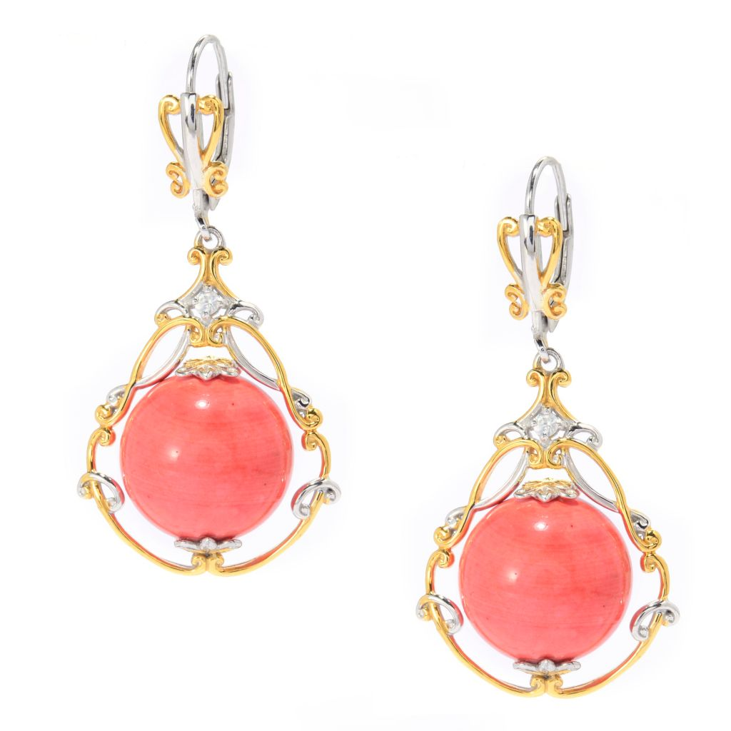 "139-801 - Gems en Vogue 1.5"" 14mm Round Bamboo Coral Bead & White Zircon Drop Earrings"