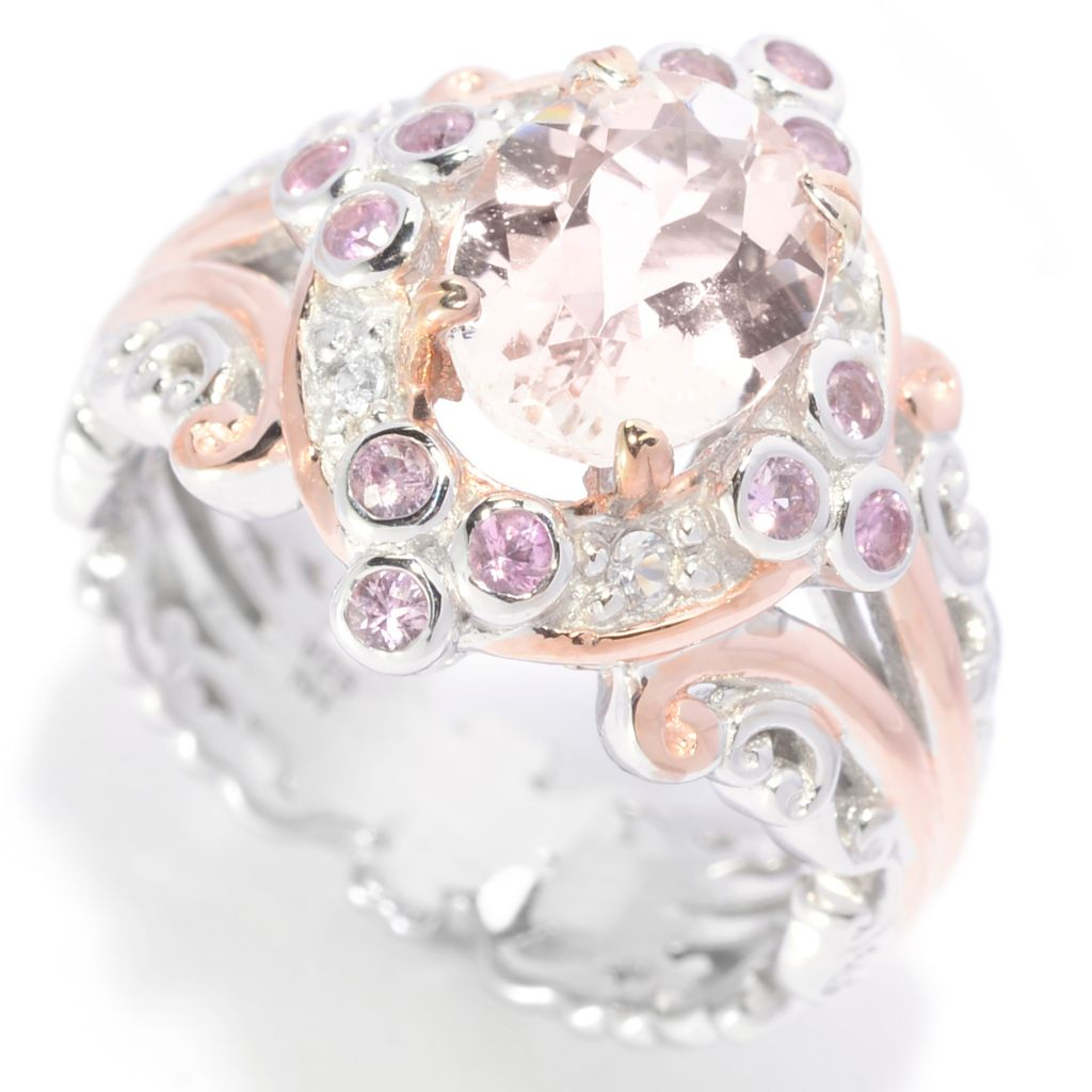 139-803 - Gems en Vogue 1.89ctw Oval Morganite & Multi Sapphire Halo Ring