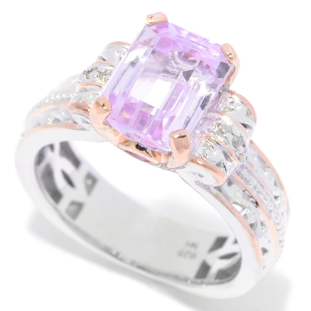 139-805 - Gems en Vogue 3.04ctw Emerald Cut Kunzite, Pink Tourmaline & Diamond Ring