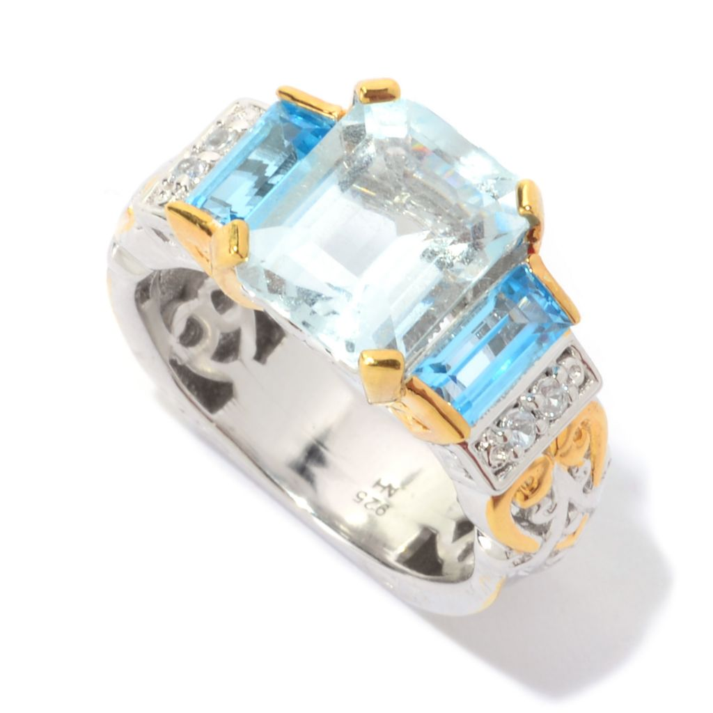 139-806 - Gems en Vogue 3.82ctw Aquamarine, Swiss Blue Topaz & White Sapphire Ring