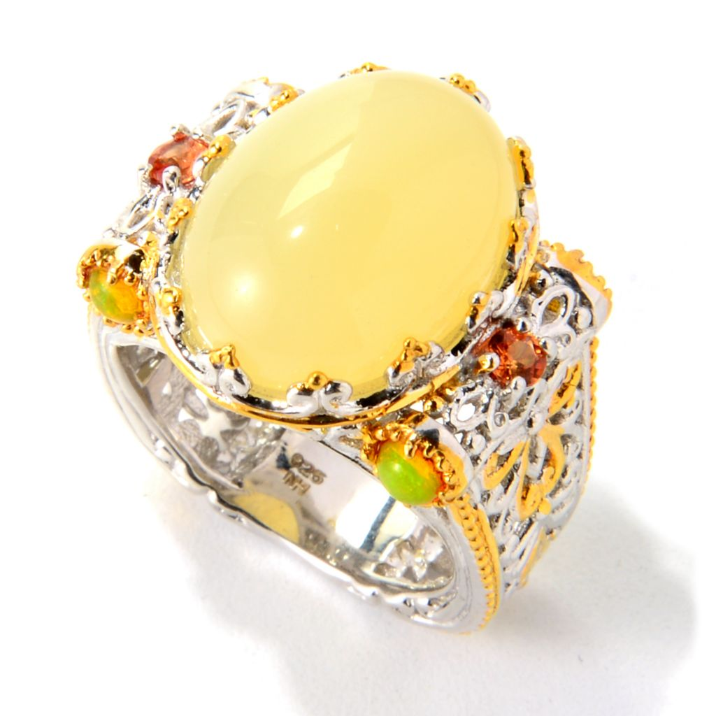 139-807 - Gems en Vogue II 16 x 12mm Oval Yellow Opal & Orange Sapphire Wide Band Ring