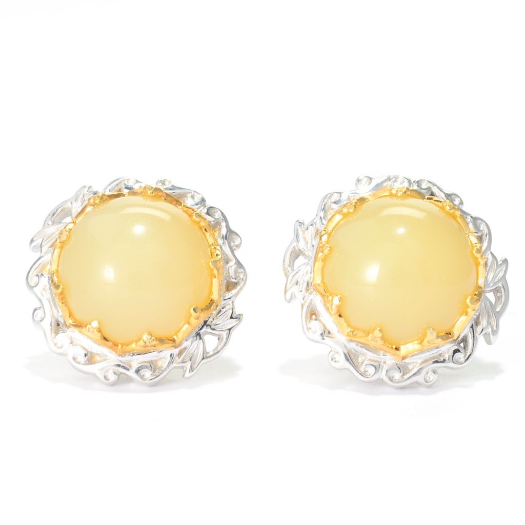 139-808 - Gems en Vogue II 10mm Round Yellow Opal Stud Earrings