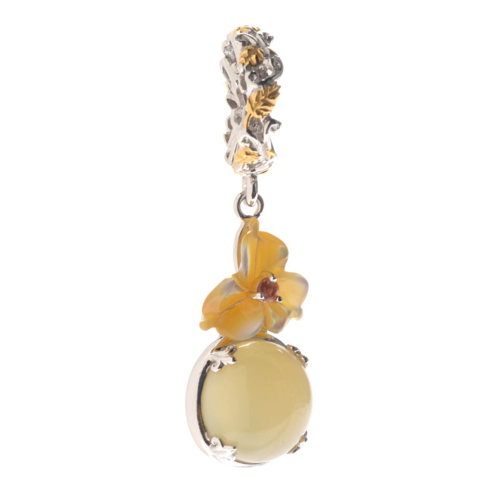 139-809 - Gems en Vogue 10mm Round Yellow Opal & Multi Gem Flower Drop Charm