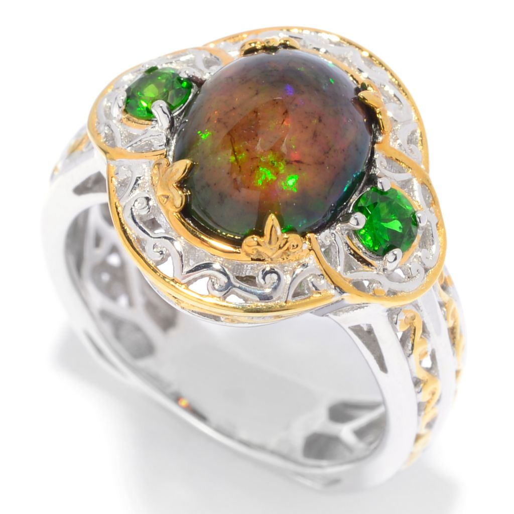 139-810 - Gems en Vogue 10 x 8mm Smoked Black Ethiopian Opal & Chrome Diopside Ring