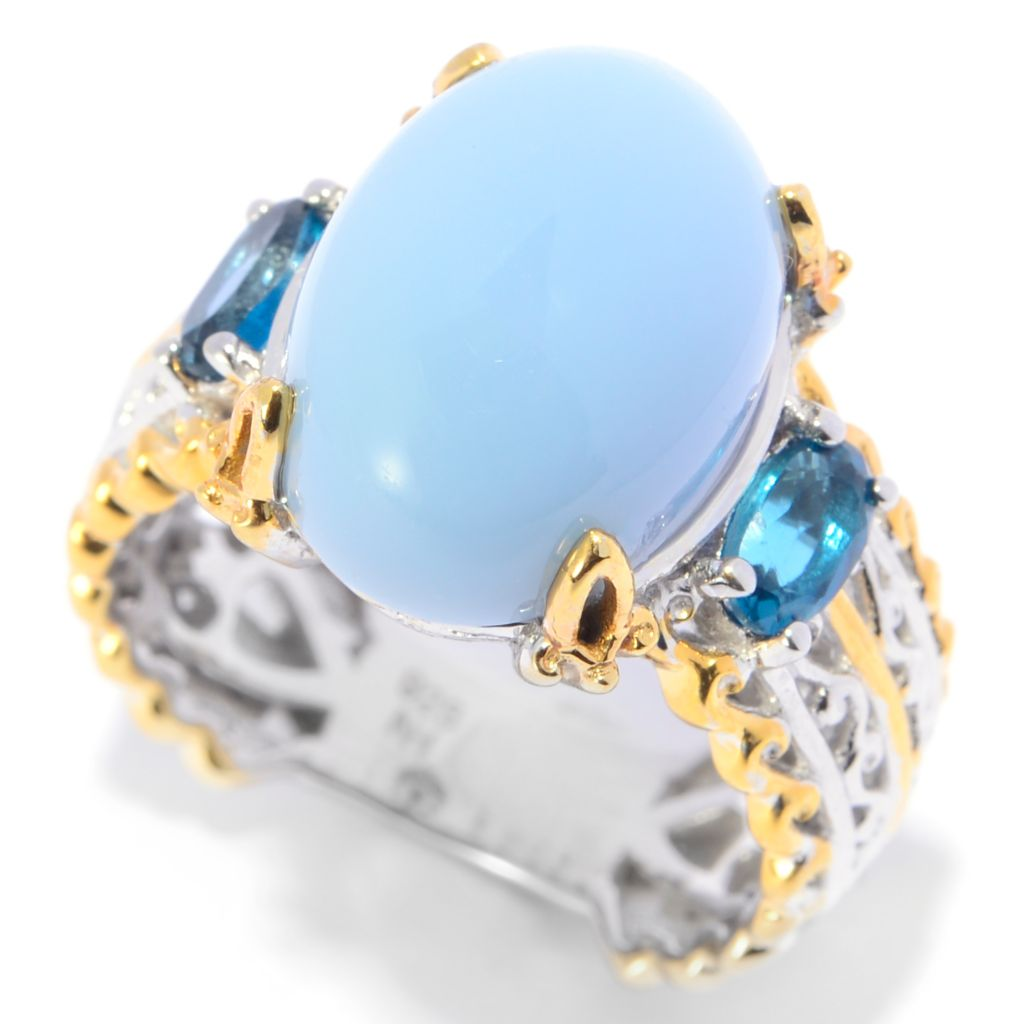 139-811 - Gems en Vogue II 14 x 10mm Oval Blue Opal & London Blue Topaz Band Ring