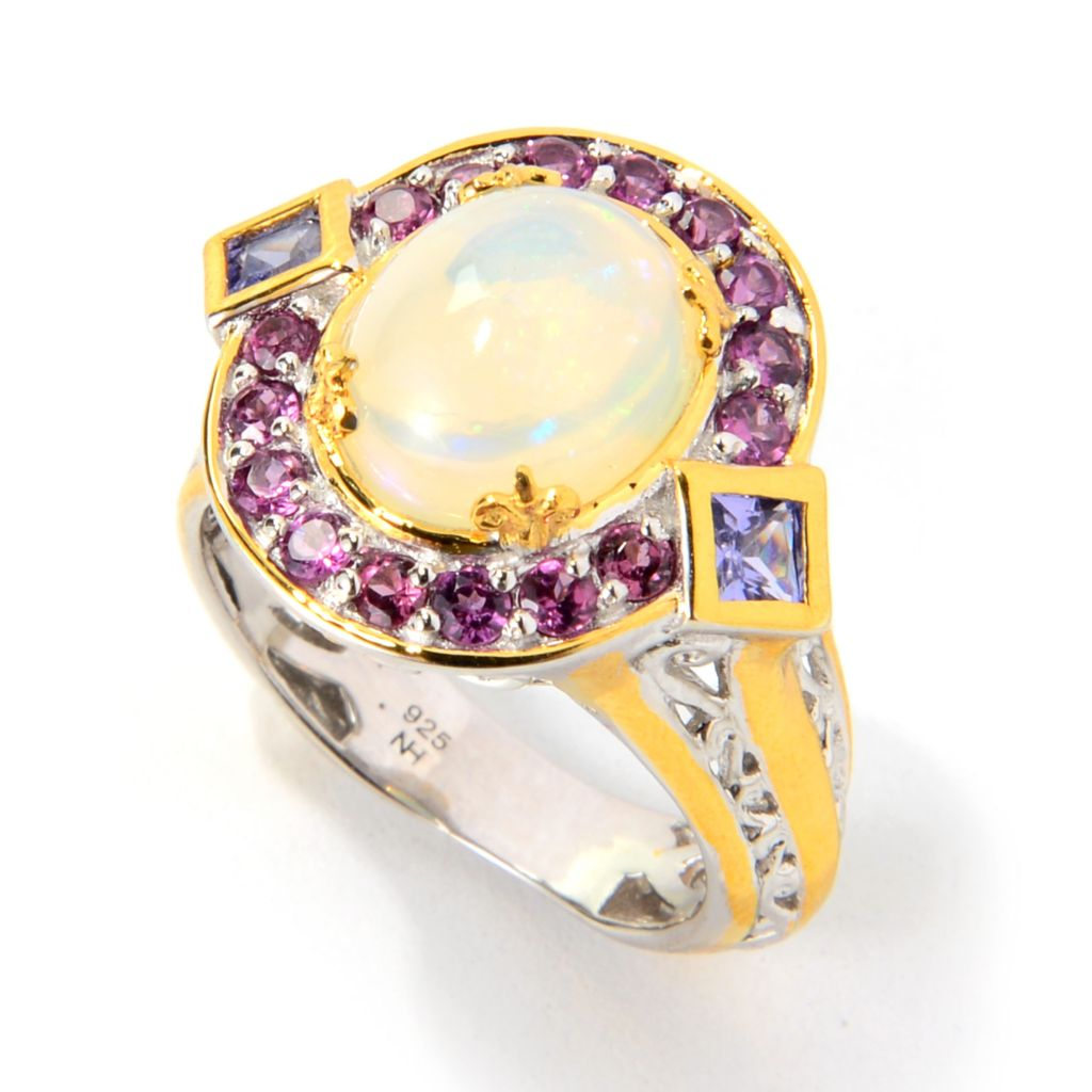139-812 - Gems en Vogue 11 x 9mm Oval Ethiopian Opal, Rhodolite & Tanzanite Ring