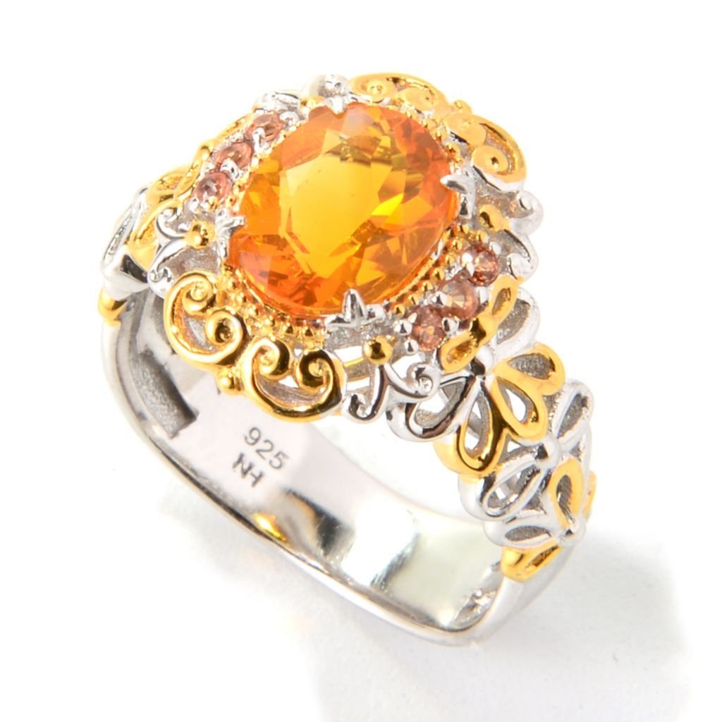 139-813 - Gems en Vogue 9 x 7mm Oval Fire Opal & Orange Sapphire Flower Shank Ring