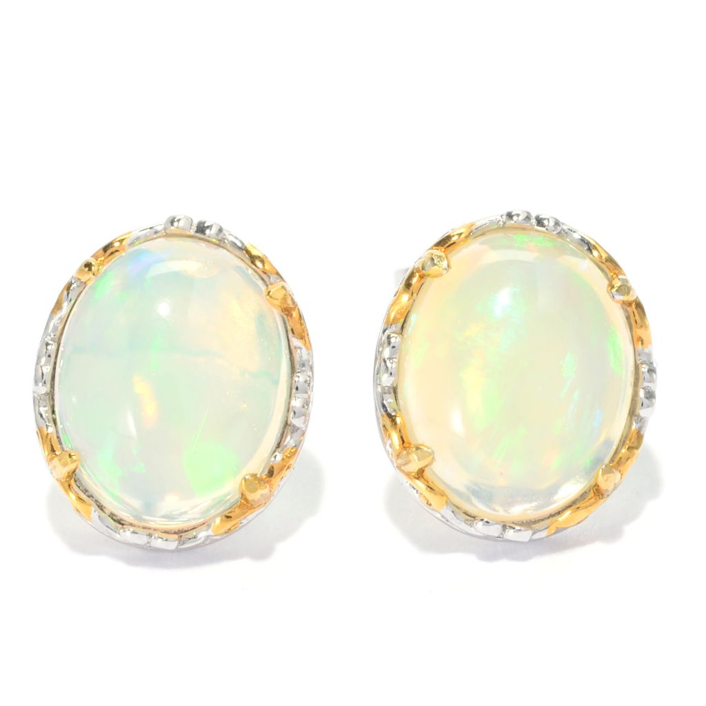 139-814 - Gems en Vogue II 10 x 8mm Oval Ethiopian Opal Stud Earrings