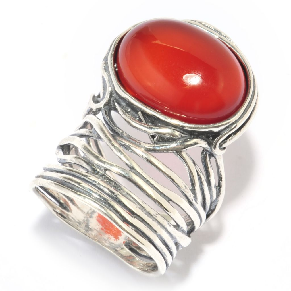139-816 - Passage to Israel Sterling Silver 16 x 12mm Oval Gemstone Hammered Wrap Ring