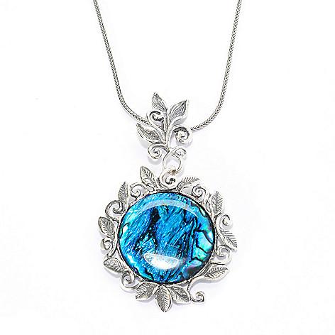 139-818 - Passage to Israel Sterling Silver 18'' 25mm Gemstone Leaf & Vine Motif Drop Necklace