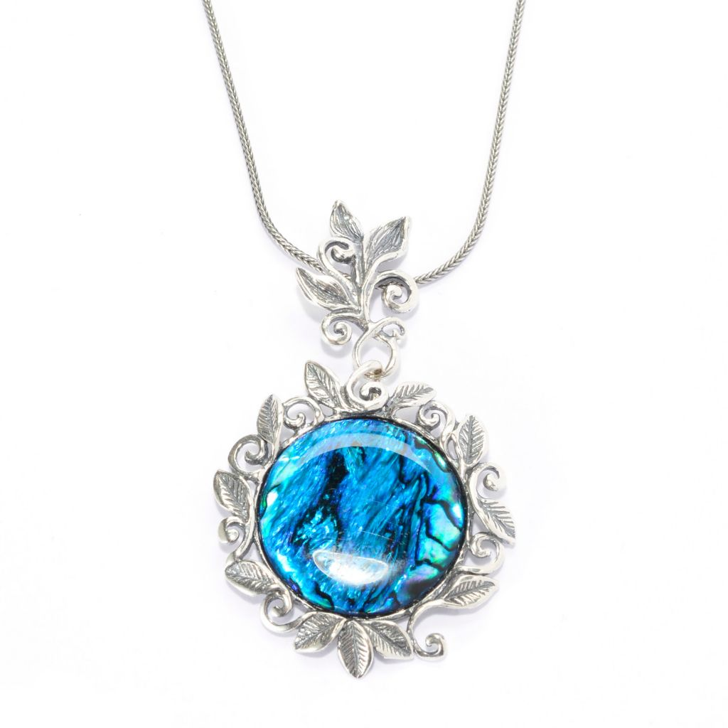 "139-818 - Passage to Israel Sterling Silver 18"" 25mm Gemstone Leaf & Vine Motif Drop Necklace"
