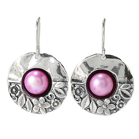 139-820 - Passage to Israel Sterling Silver 1.25'' 7.5-8mm Cultured Pearl Drop Earrings