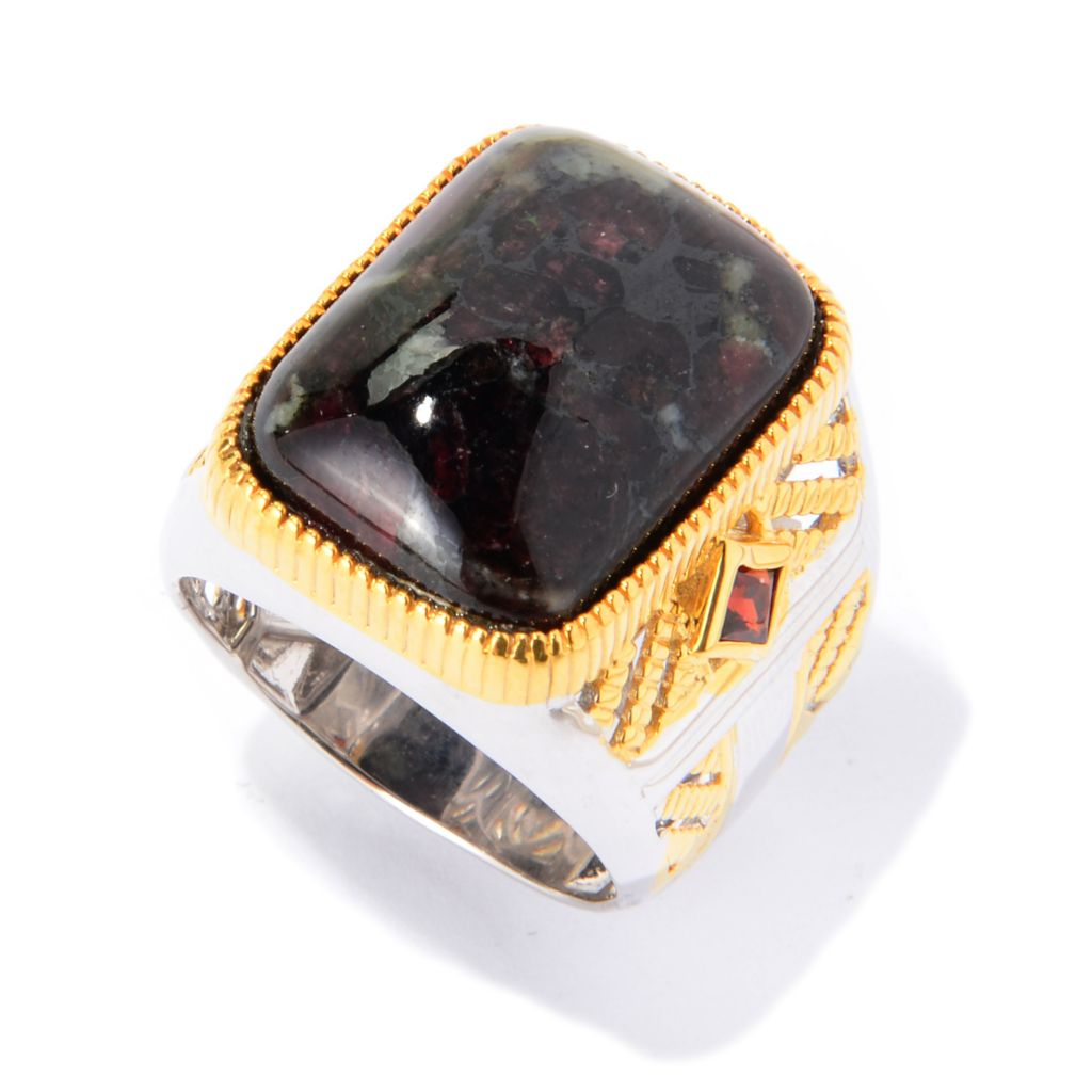 139-821 - Men's en Vogue II 20 x 15mm Russian Eudialyte & Almandine Garnet Textured Ring