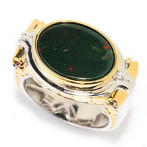 139-822 - Men's en Vogue 16 x 12mm Oval Bloodstone & Multi Gemstone Polished Ring