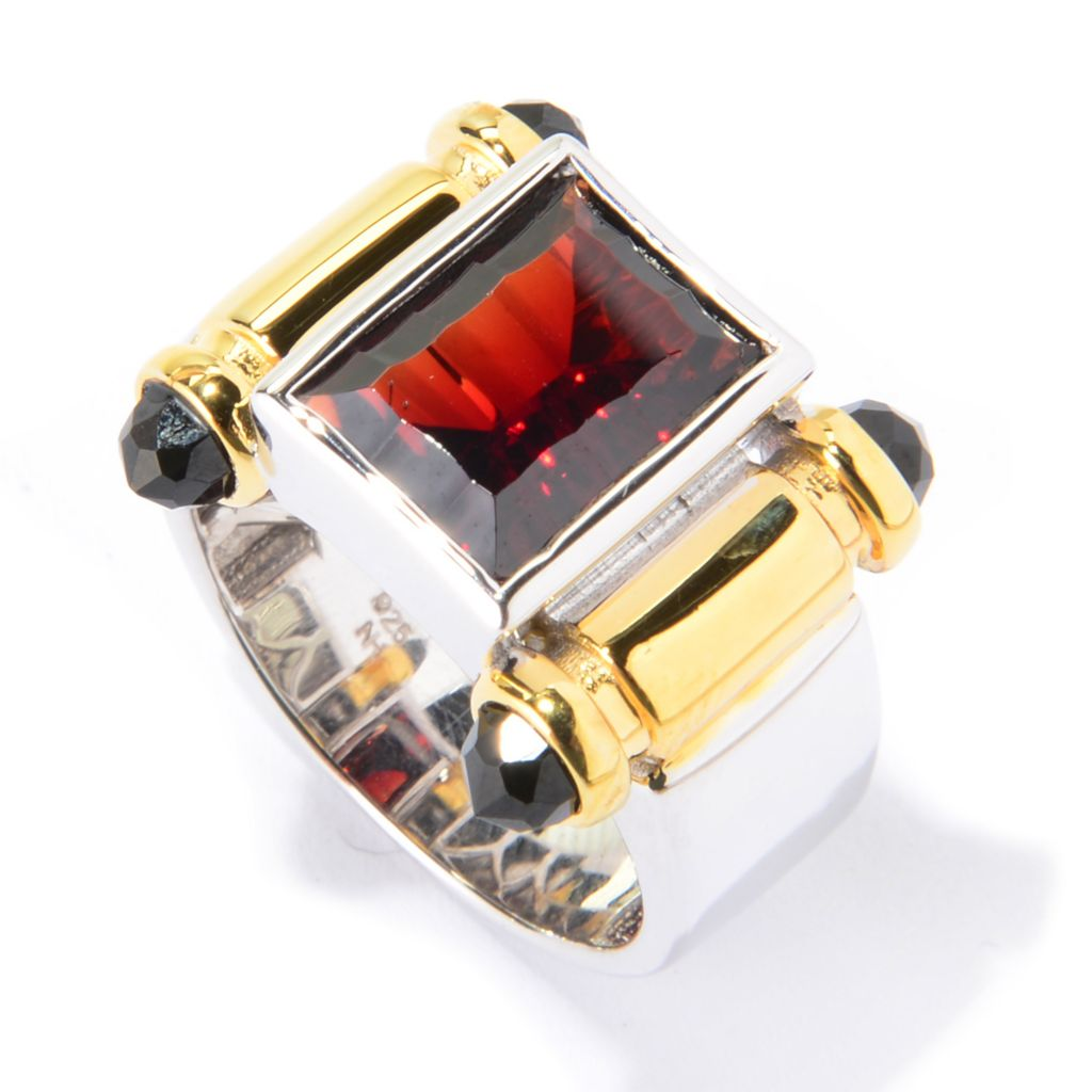 139-824 - Men's en Vogue II 6.65ctw Fancy Cut Garnet & Black Spinel Polished Ring