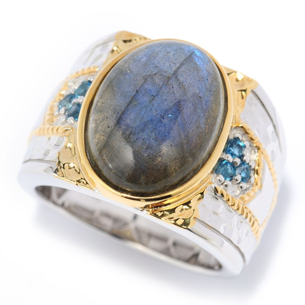 139-825 - Men's Vogue II 16 x 12mm Oval Labradorite & London Blue Topaz Hammered Ring