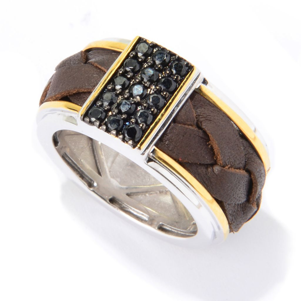 139-826 - Men's en Vogue Black Spinel Braided Leather Eternity Band Ring
