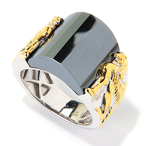 139-827 - Men's en Vogue 16 x 14.5mm Fancy Cut Hematite Sculpted Dragon Polished Ring