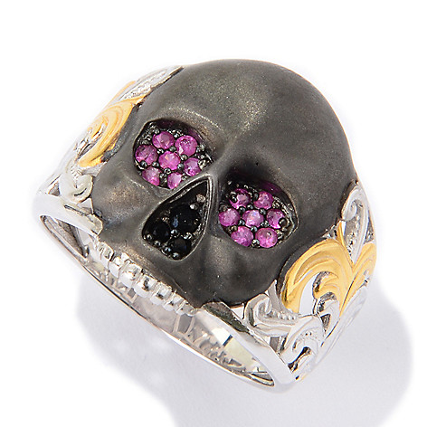 139-828 - Men's en Vogue Round Ruby & Black Spinel Satin Finished Skull Ring