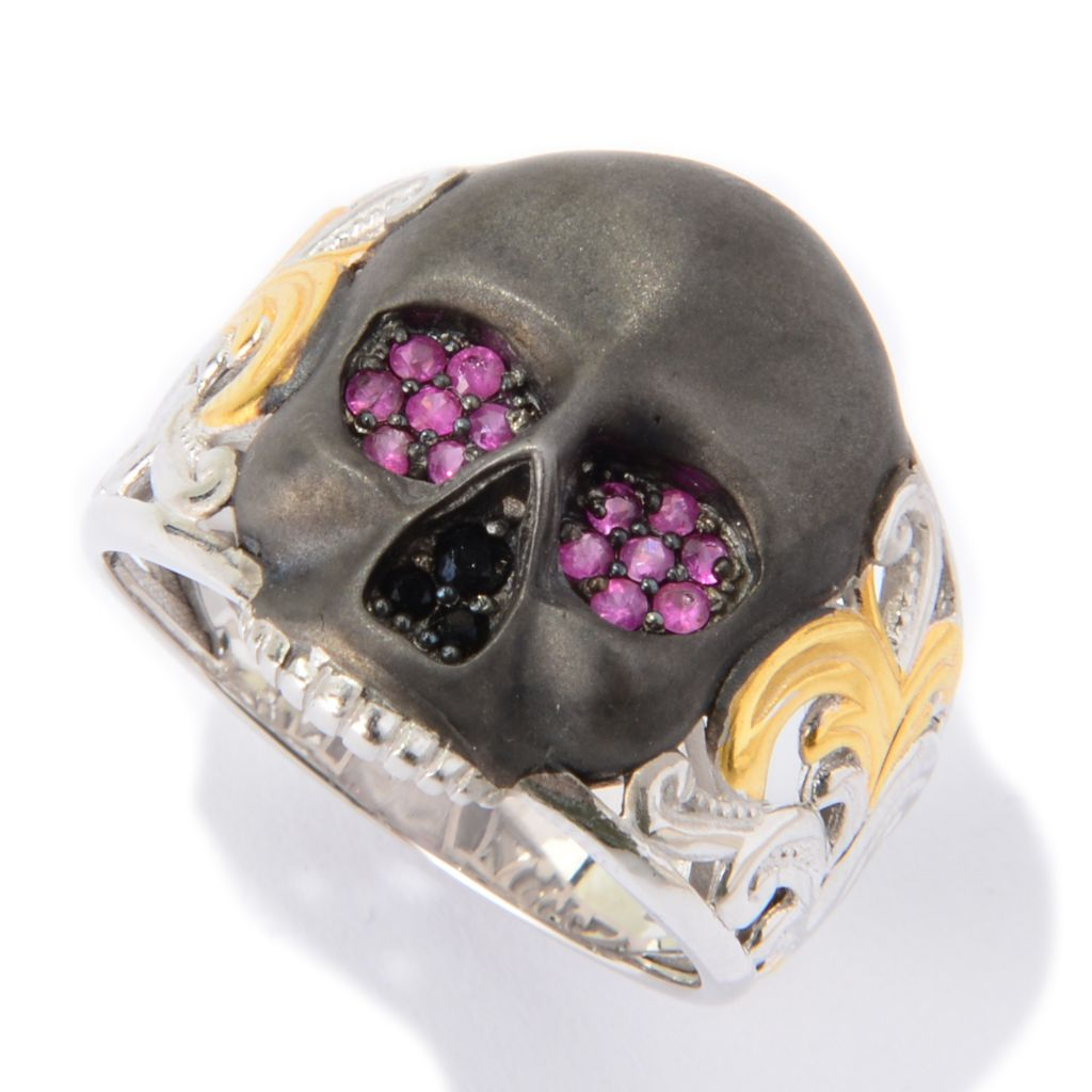 139-828 - Men's en Vogue II Round Ruby & Black Spinel Satin Finished Skull Ring