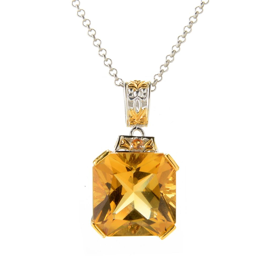 139-829 - Gems en Vogue II 23.59ctw Zambian Citrine & Orange Sapphire Pendant w/ Chain