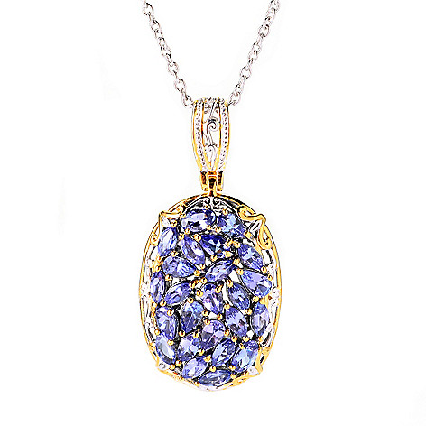 139-831 - Gems en Vogue 3.84ctw Multi Shape Tanzanite Cluster Pendant w/ 18'' Chain