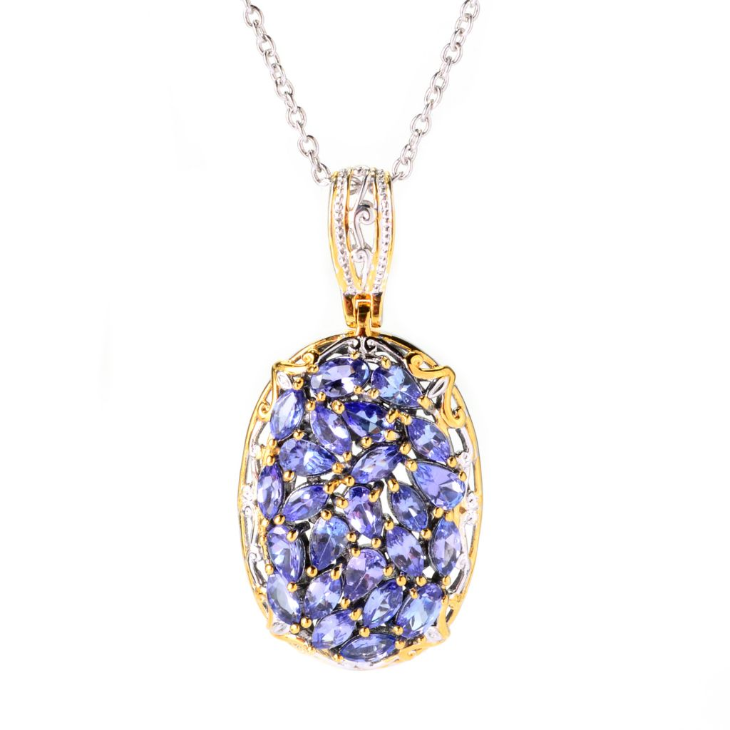 "139-831 - Gems en Vogue 3.84ctw Multi Shape Tanzanite Cluster Pendant w/ 18"" Chain"
