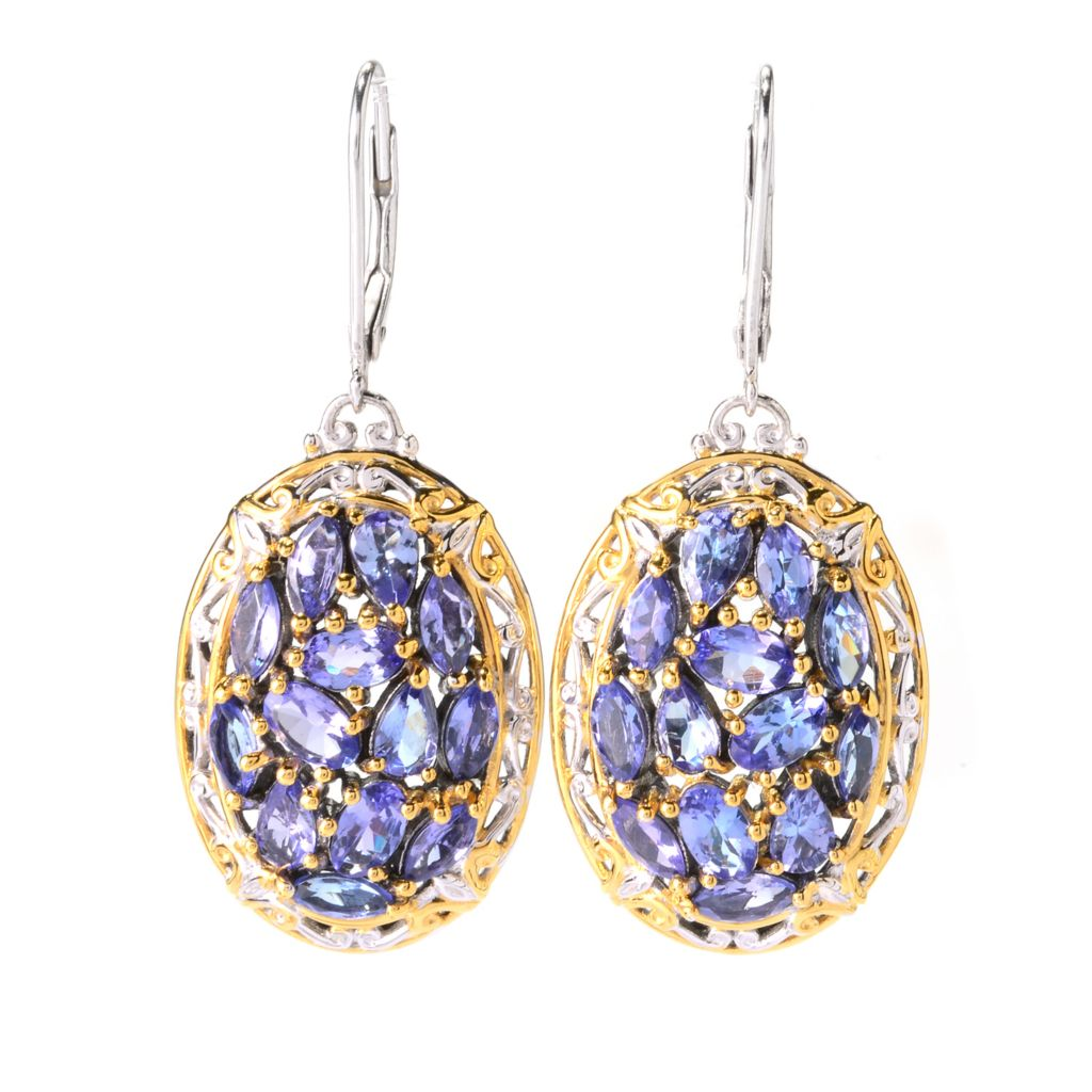 "139-832 - Gems en Vogue 1.5"" 4.60ctw Multi Shape Tanzanite Cluster Drop Earrings"