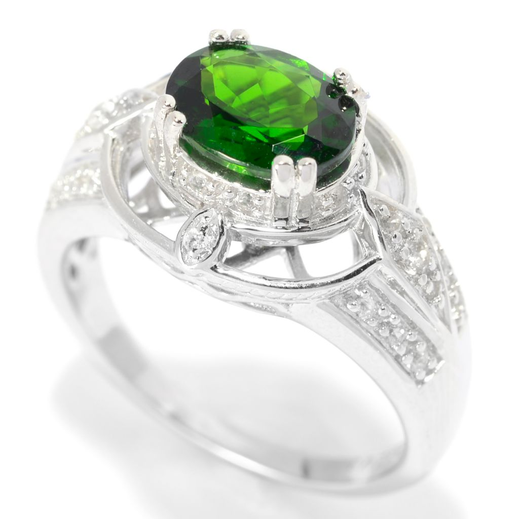 139-833 - Gem Treasures Sterling Silver 1.18ctw Oval Chrome Diopside & White Zircon Ring