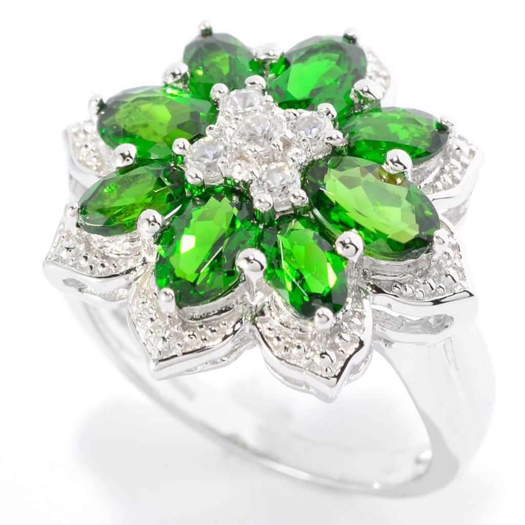 139-834 - Gem Treasures Sterling Silver 3.20ctw Chrome Diopside & White Zircon Flower Ring