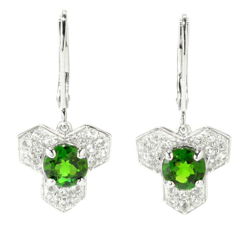 "139-837 - Gem Treasures Sterling Silver 1"" 2.17ctw Chrome Diopside & White Topaz Earrings"