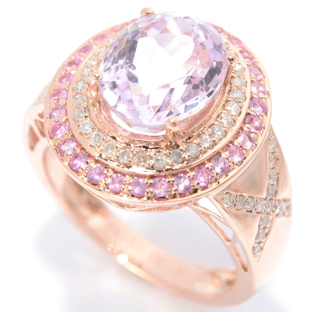 139-839 - Gem Treasures 14K Rose Gold 4.25ctw Kunzite, Pink Sapphire & Diamond Ring