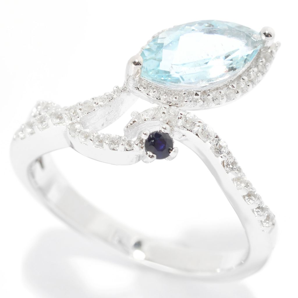 139-840 - Gem Treasures Sterling Silver 1.09ctw Sapphire, Aquamarine & White Zircon Ring