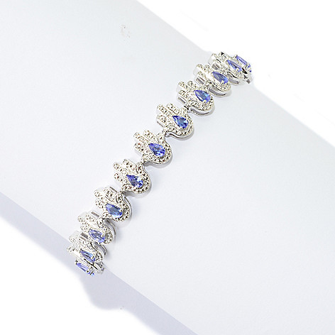 139-843 - NYC II Pear Shaped Tanzanite Hamsa Link Bracelet