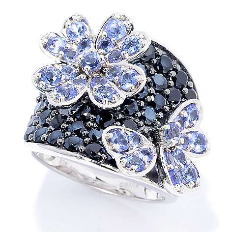 139-844 - NYC II™ 4.03ctw Tanzanite & Black Spinel Flower Ring