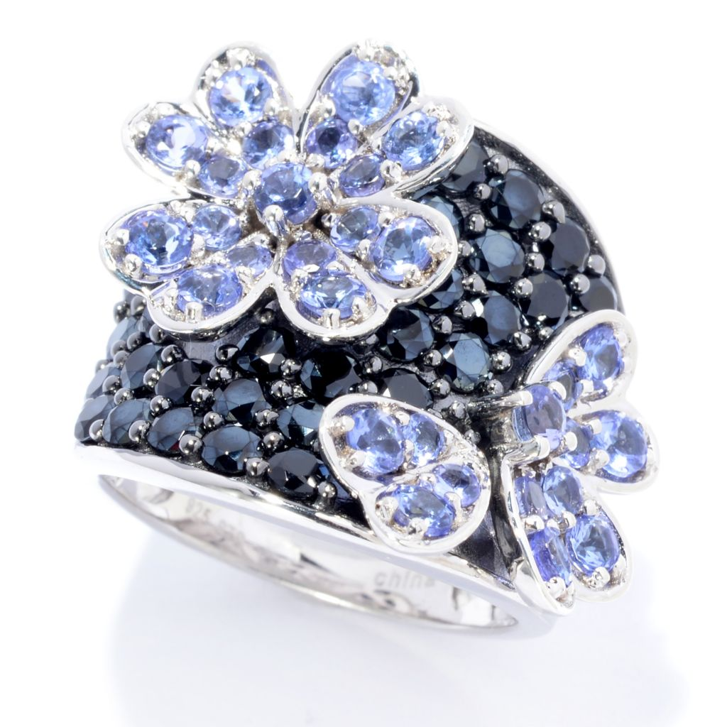 139-844 - NYC II 4.03ctw Tanzanite & Black Spinel Flower Ring