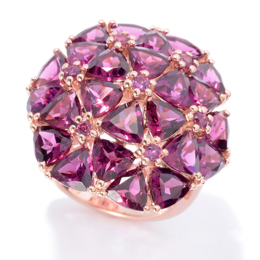 139-845 - NYC II 11.08ctw Trillion Shaped Rhodolite Garnet Dome Ring