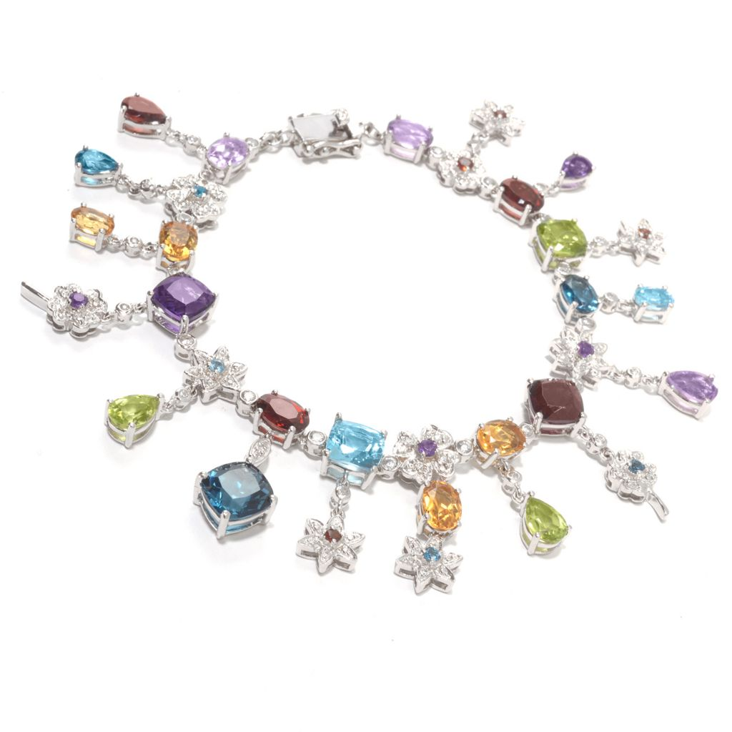 139-846 - NYC II Multi Gemstone Flower Link Dangle Bracelet