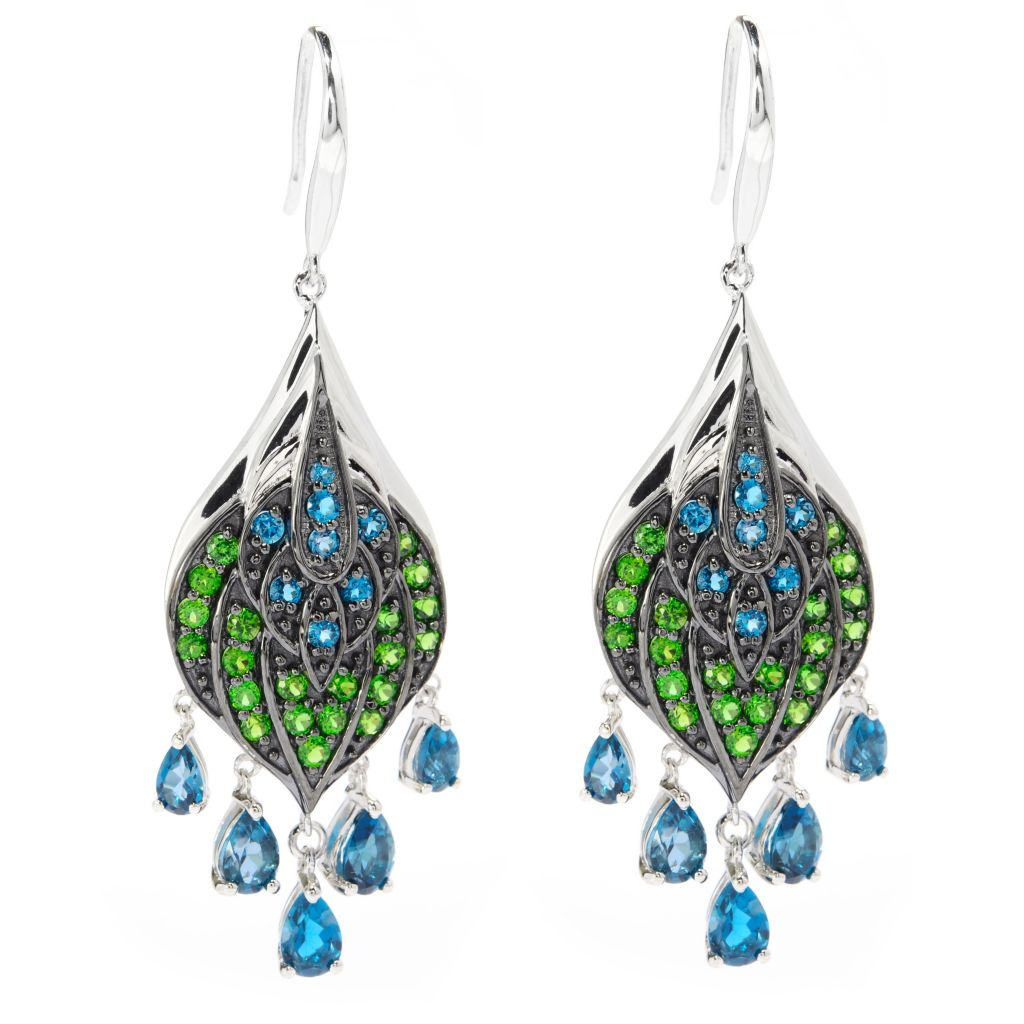 "139-847 - NYC II 2.25"" 5.06ctw London Blue Topaz & Chrome Diopside Peacock Earrings"