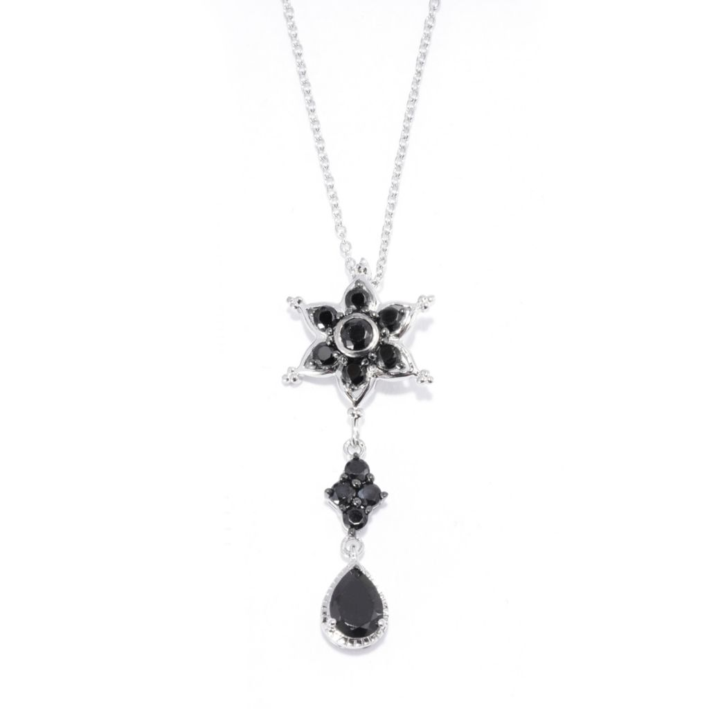 "139-852 - NYC II 1.99ctw Black Spinel Celestial Star Drop Pendant w/ 18"" Chain"