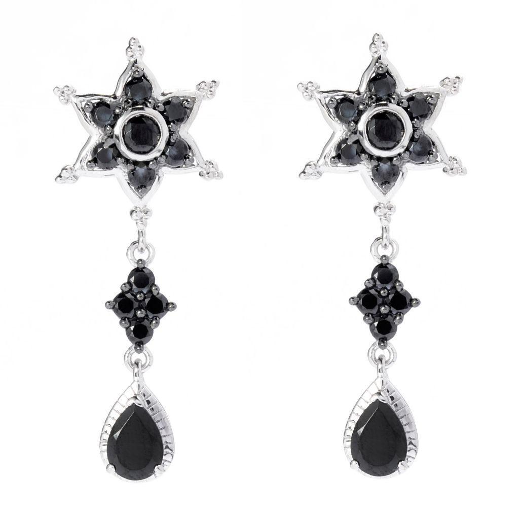 "139-853 - NYC II 1.5"" 3.98ctw Black Spinel Celestial Star Drop Earrings"