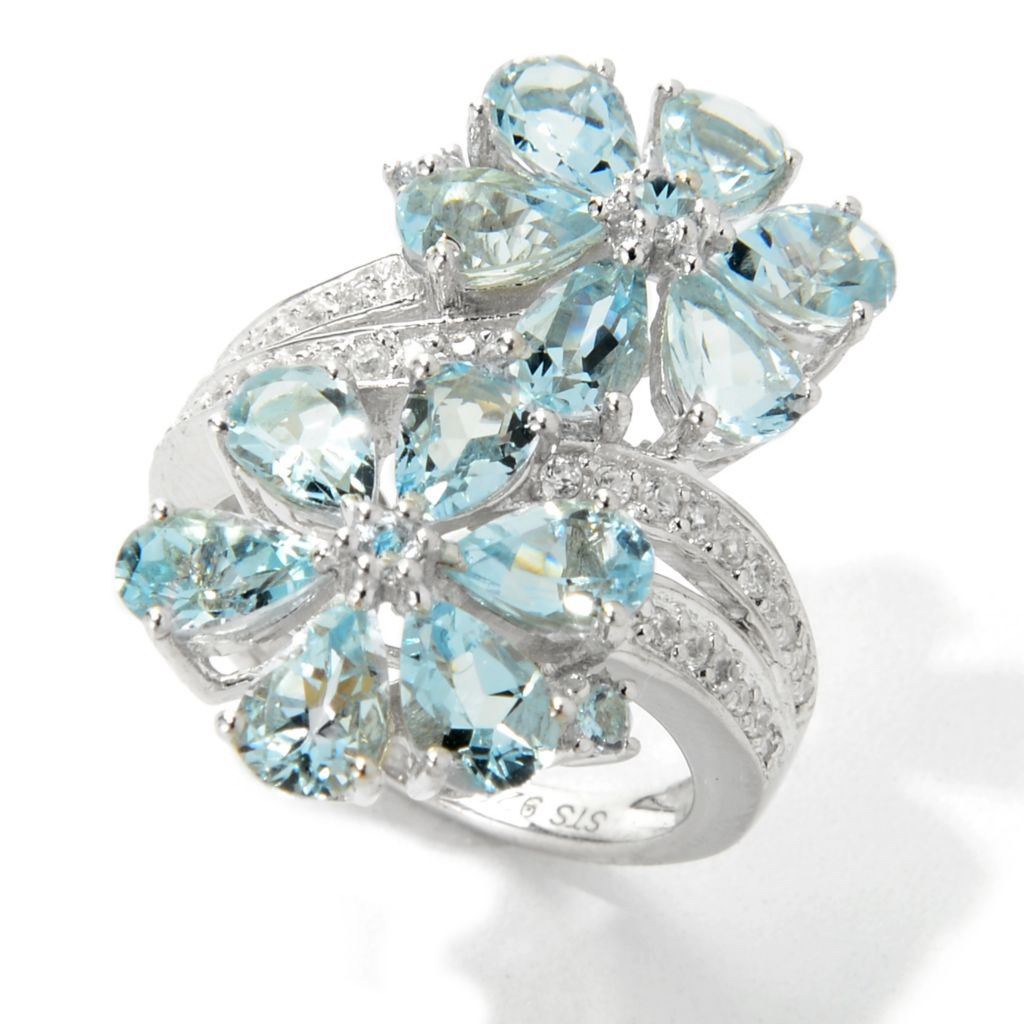 139-854 - NYC II 3.67ctw Aquamarine & White Zircon Double Flower Elongated Ring