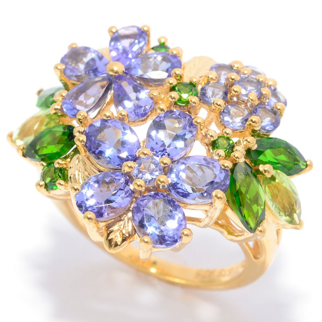 139-863 - NYC II 4.12ctw Tanzanite, Chrome Diopside & Peridot Flower Cluster Ring