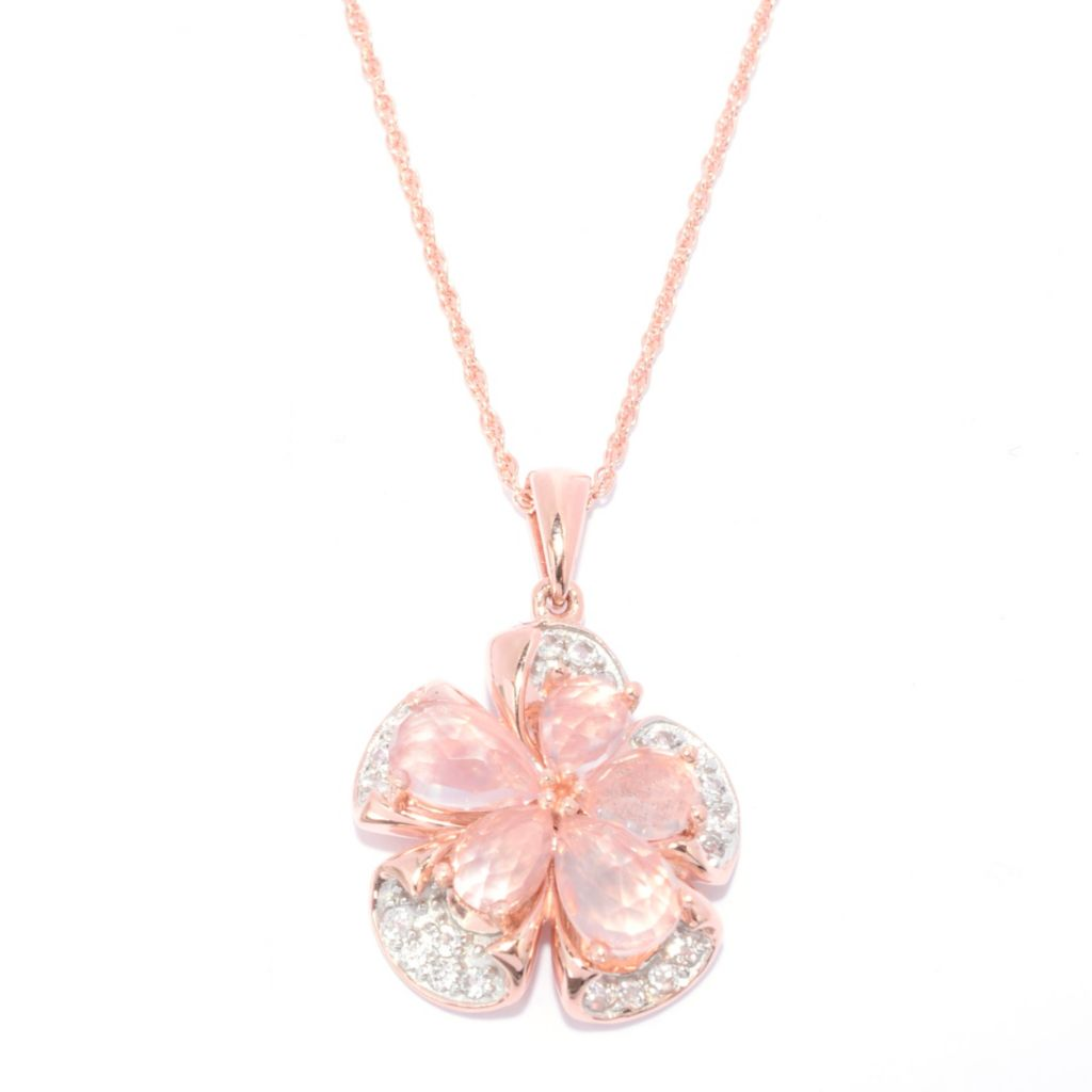 "139-865 - NYC II Rose Quartz & White Topaz Flower Pendant w/ 18"" Chain"