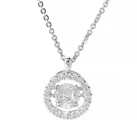 139-870 - Beverly Hills Elegance® 14K White Gold 0.55ctw Princess & Marquise Diamond Heartbeat Pendant