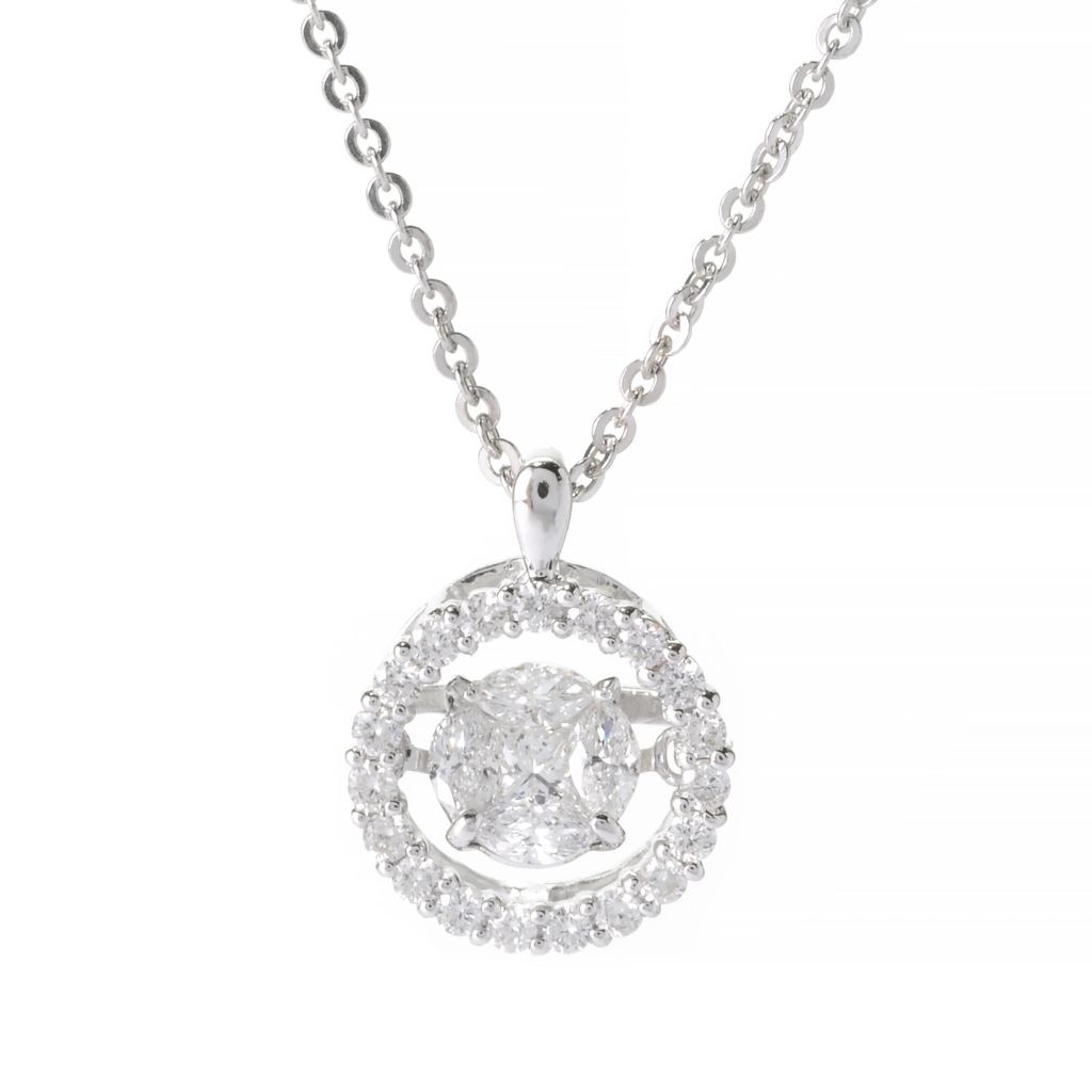 139-870 - Beverly Hills Elegance 14K White Gold 0.55ctw Princess & Marquise Diamond Heartbeat Pendant