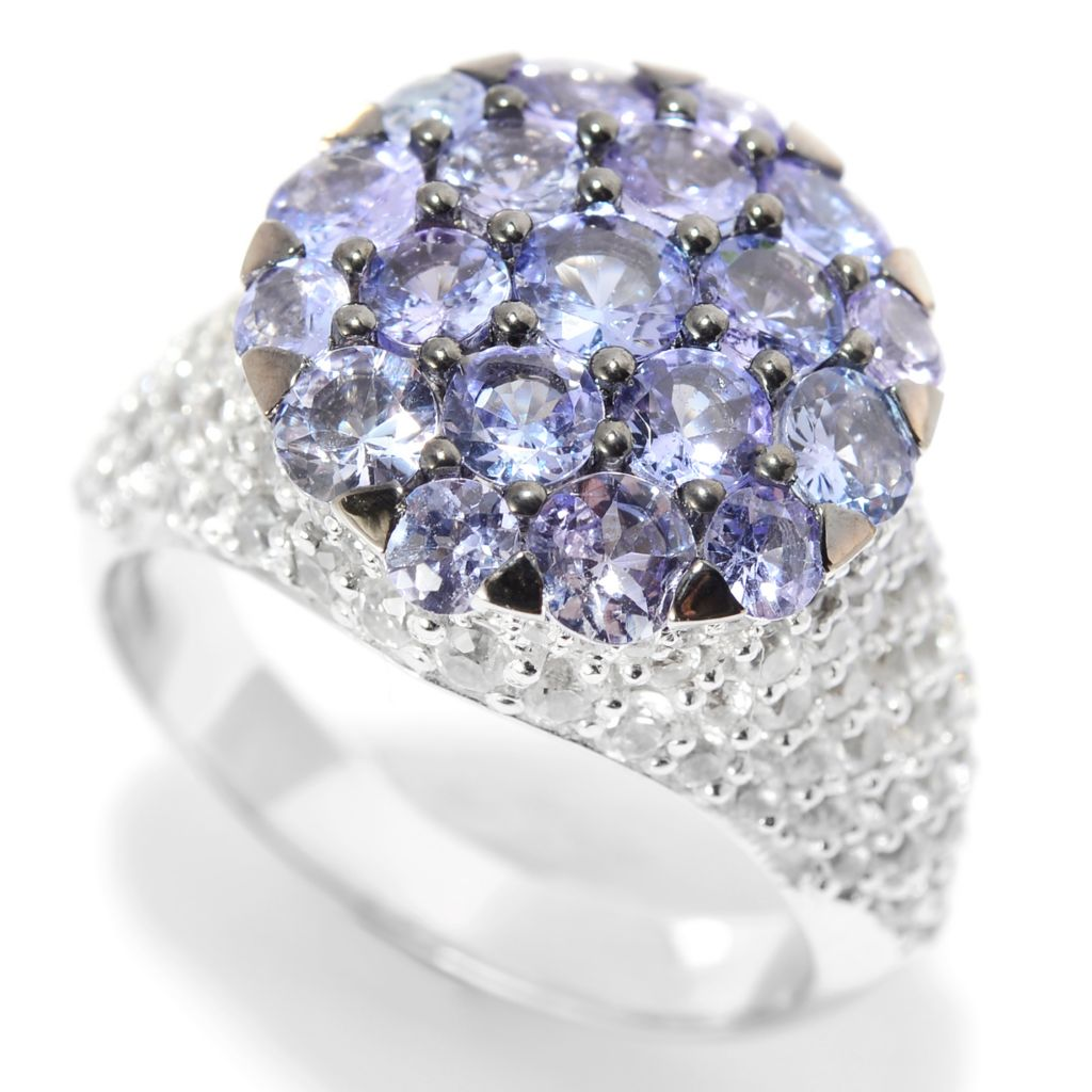 139-872 - Gem Treasures 14K White Gold 3.98ctw Tanzanite & White Zircon Pave Cluster Ring